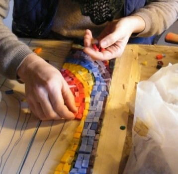 Mosaic curtains are made using the indirect technique