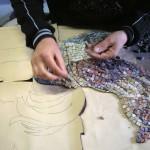 composizione del mosaico con tecnica indiretta su carta
